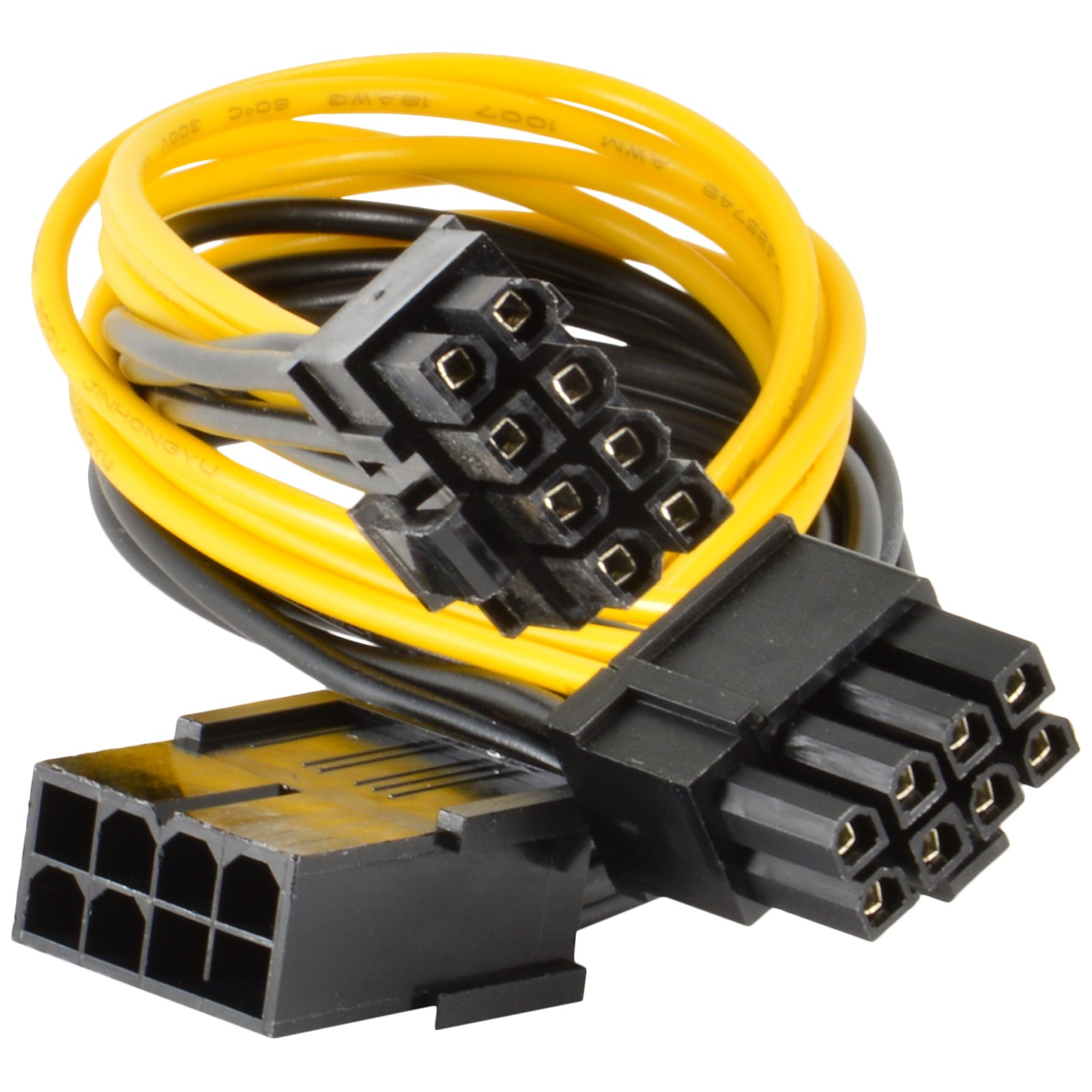 UL 18AWG 8Pin to 8P 2-Port 4+4Pin CPU Power Supply Computer Extension Cable 20cm