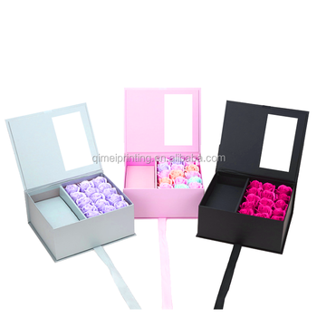 Custom Paper Packaging Paper Gift Rose Long Lasting Preserved Flower Boxes with Drawer Clear