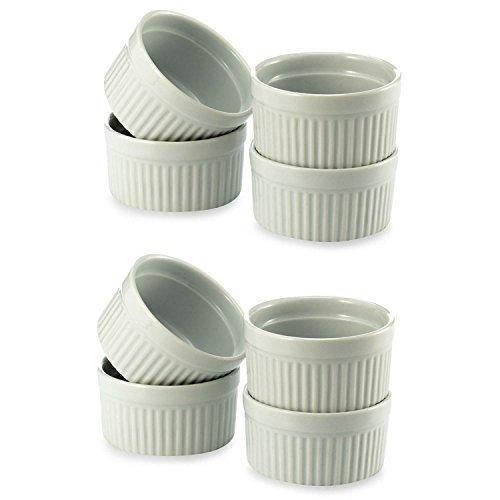 BIA Cordon Bleu (2 Set of 4) - 8 oz. Porcelain Ramekins White Bowls 8 ounce