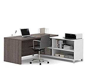 "Bestar L-Shaped Desk 71 1/8""W X 71 1/8""D X 29 3/4""H, Durable 1.5"" Commercial Grade Work Surface W/Melamine Finish Constructed Of Bookcase Credenza W/Three Shelves & Desk Return - White & Bark Gray"