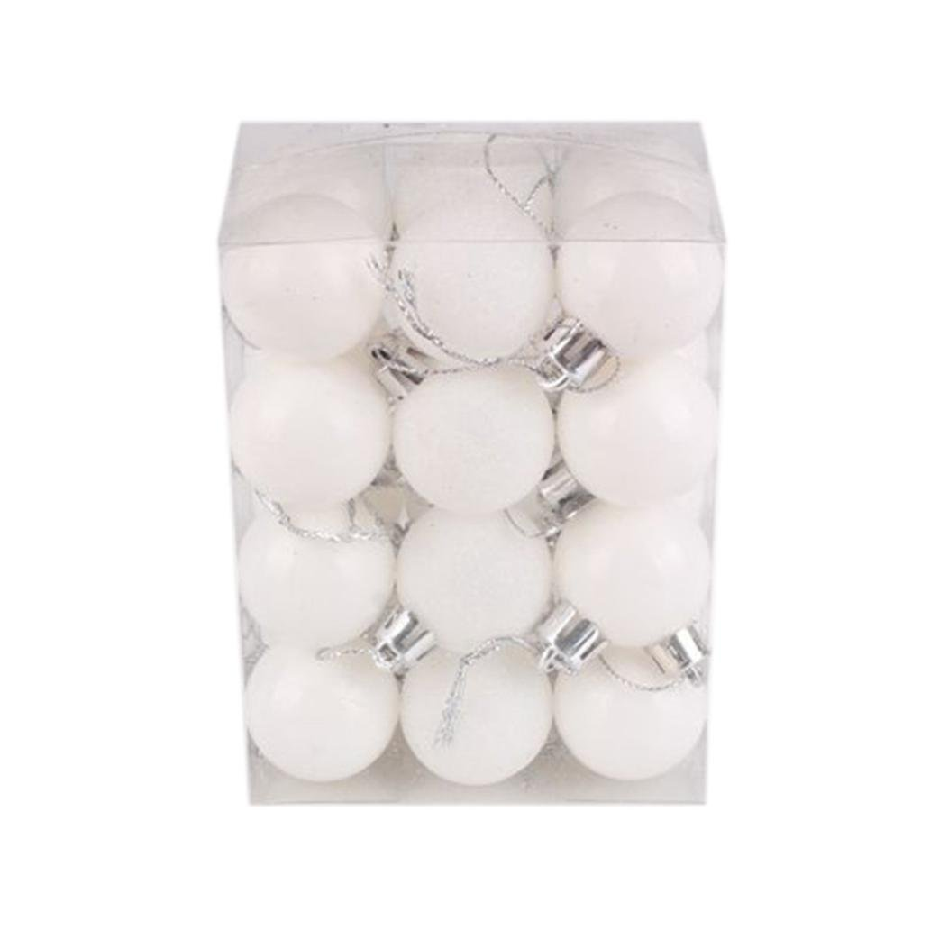 "Kemilove 24pcs Christmas Ball Ornaments Shatterproof Christmas Decorations Tree Balls Small for Holiday Wedding Party Decoration, Tree Ornaments (1.18"" / 30mm, White)"