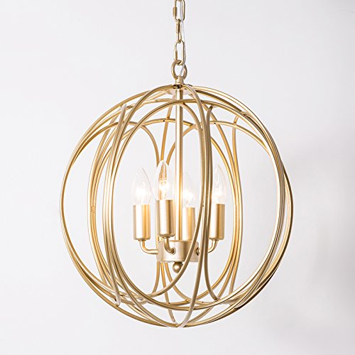 Lovedima Modern Chic Gold Sphere 3 Lights/4 Lights Iron Orb Chain Suspended Chandelier Pendant Light (4-Light)