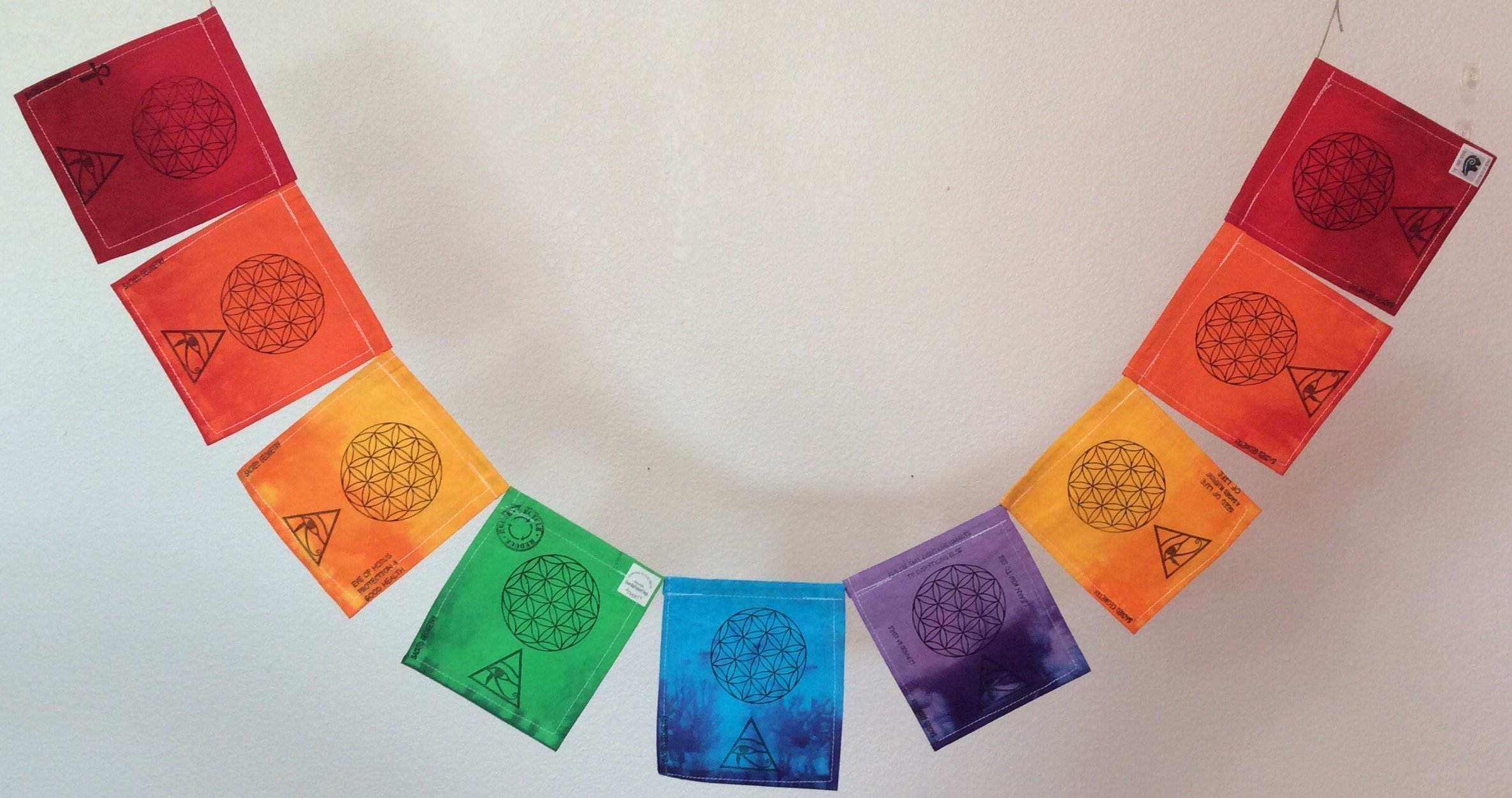 Buy Rainbow Egyptian Sacred Geometry Prayer Flag  Seed of
