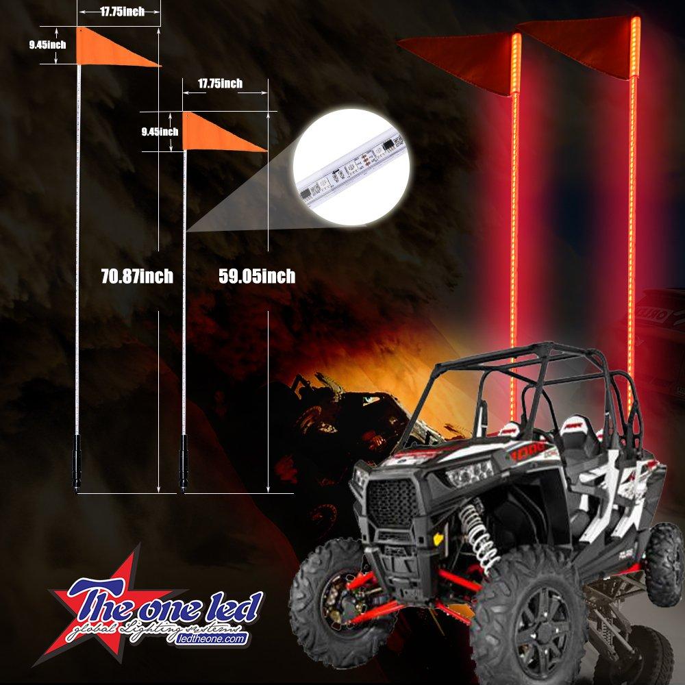 """Off-Road UTV ATV Sand Rail SafeGlo LED Lighted Whips 4 FT /""""BLUE/"""" Whip /& Flag"""