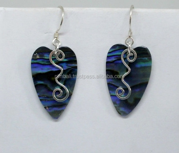 ERS#264 Silver squiggle Earrings with shell