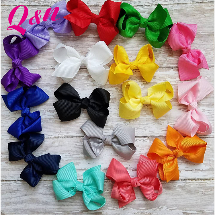 wholesale custom cute solid & mix stocked printed grosgrain ribbon pattern hair bands for girls
