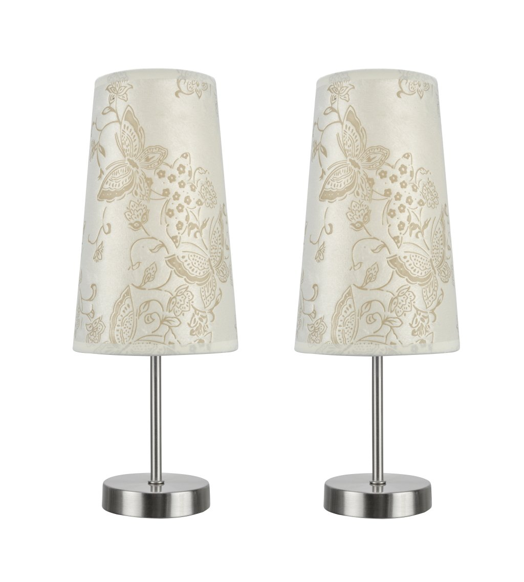 """Aspen Creative 40084-9, 2-Pack Set-1 Light Candlestick Table Lamp, Contemporary Design in Satin Nickel, 14 1/4"""" High, Butterfly"""