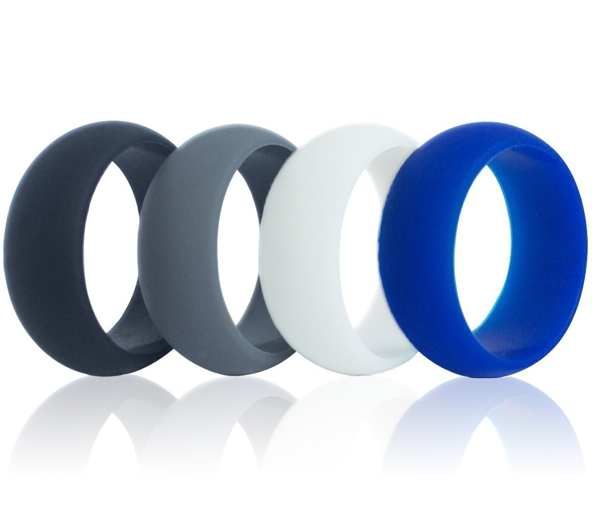 X-CHENG Silicone Wedding Ring - Top grade&hypoallergenic&flexible silicone - Simple stylish appearance -Comfortable for men&women - Great for Work, Exercises.etc - 4 Packs, Black, white, grey, blue