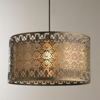 Filigree Lotus Metal Lamp Shade Pendant~ Pendant Lampshade With Beads