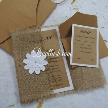 Wedding Invitation Rustic Wedding Invitation Card Burlap Invitation