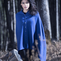 Ladies Cashmere Button Poncho