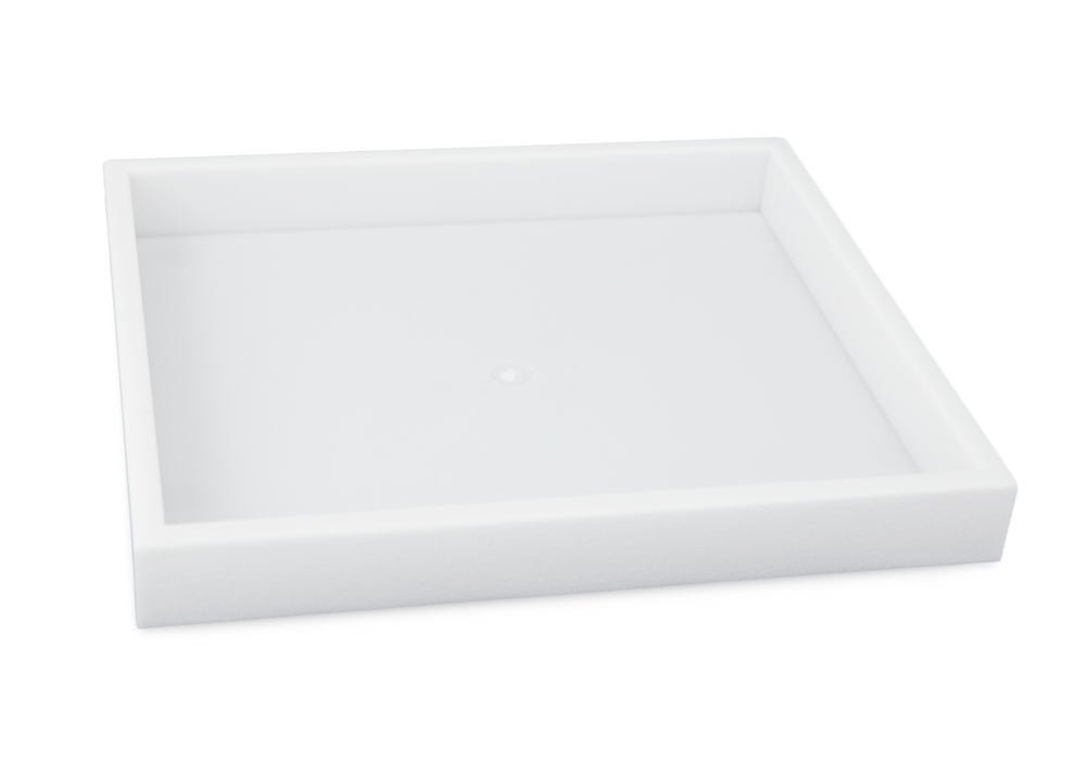 """Stackable White Plastic Utility Tray Half Size 1"""" H"""