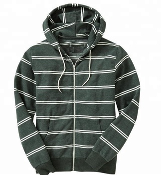 902c5887f Men's Green / White Striped Zipper Up Hoodie With Pockets - Buy ...