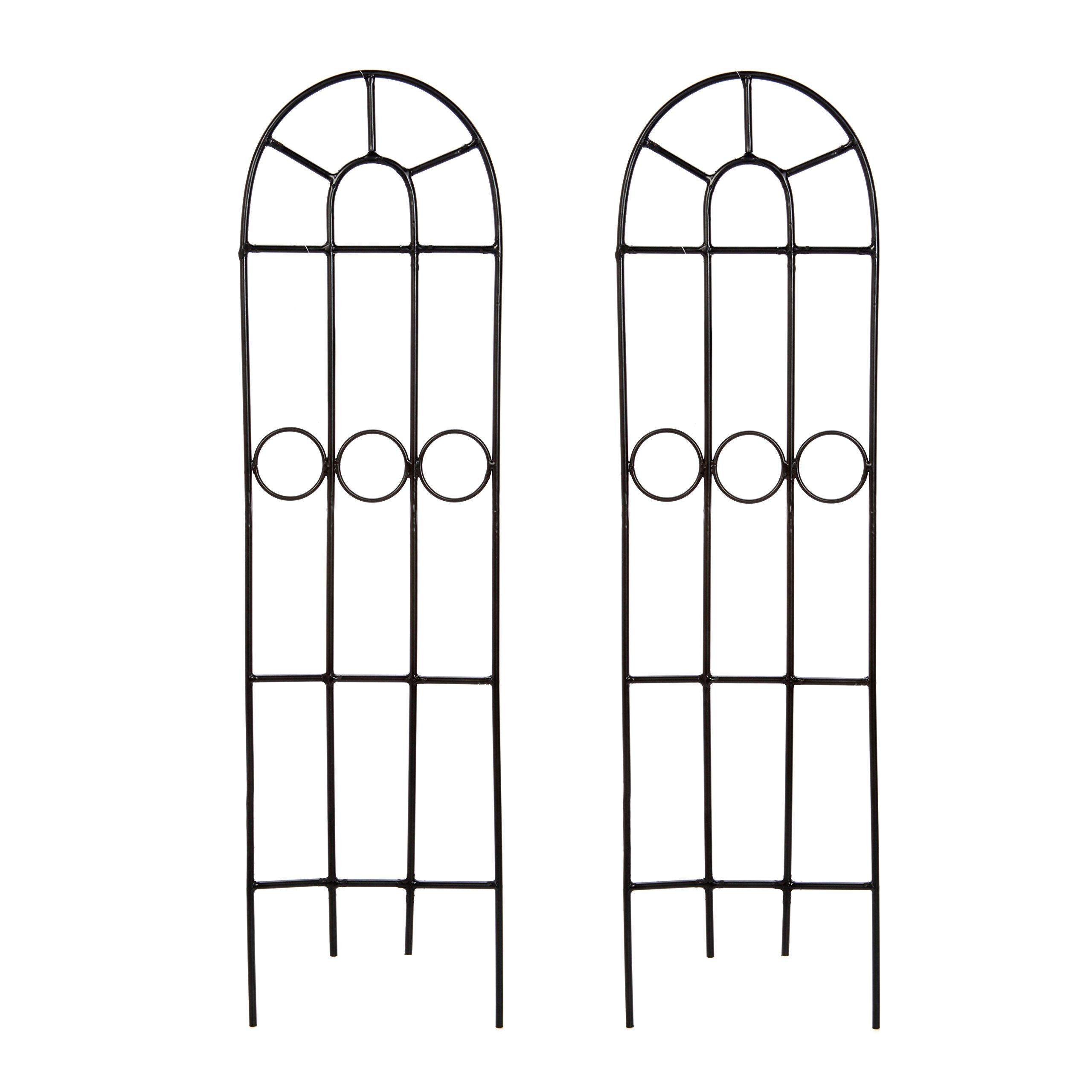 """Hosley Set of 2 Classic Iron Trellis, 27"""" High. Ideal Gift for Wedding or Party and Use Next to Structures (Home or Office) or in Planters for Growing Floral, Plants, Vines and Vegetables O4"""