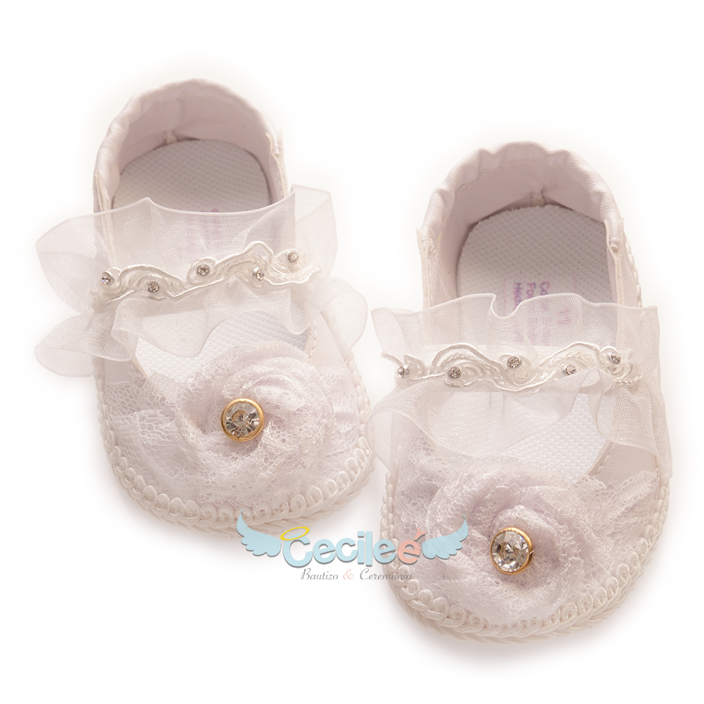 Elegant and beautiful shoe for girl with lace and flower for the best christening of your baby