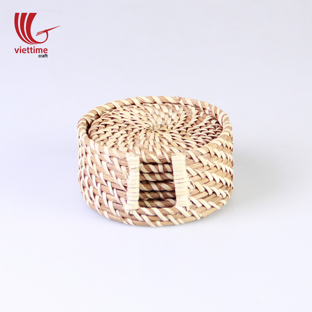 Rattan Wicker Charger Plate Woven Coaster Whole Set Of 6 With Holder