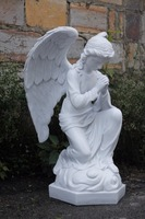 Praying angel, poly resin garden angel, white marble angel statue, anquite color statue figurine