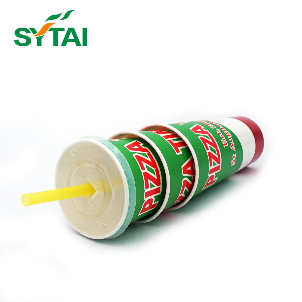 Printed wholesale biodegradable black disposable paper coffee cups with lid