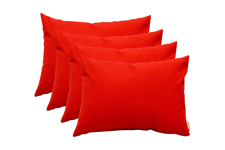 Set of 4 Indoor / Outdoor Decorative Lumbar / Rectangle Pillows - Sunbrella Canvas Jockey Red