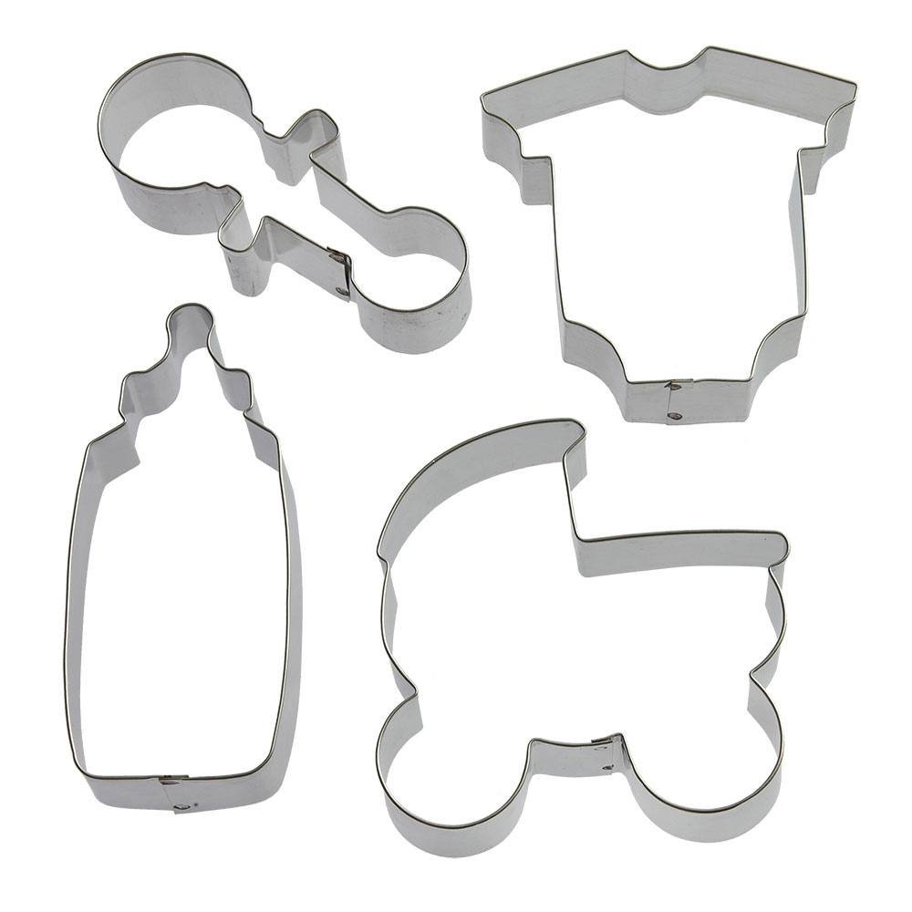 Baby Shower Cookie Cutter 4 Pc Set - Foose Cookie Cutters - US Made - 5 in Bottle, 4.25 in Rattle,4 in Body Suit, 4 in Carriage - US tin Plasted Steel