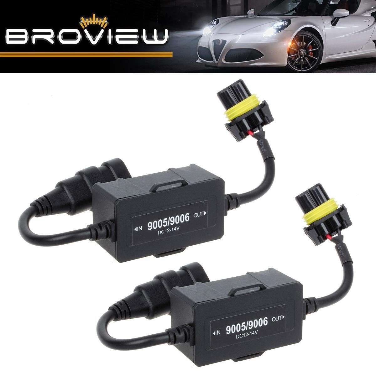 BROVIEW Canbus Series -For 9006 HB4 9012 LED Headlights Conversion Kit Anti Flickering -Wire Haress Load Resistor Decorder Canbus Error Free Computer Warning Canceller -1 Yr Warranty -(2pcs/1 Pair)