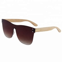 2018 New Arrival One Piece Lens Mirrored Sun Glasses Custom Logo Bamboo Sunglasses