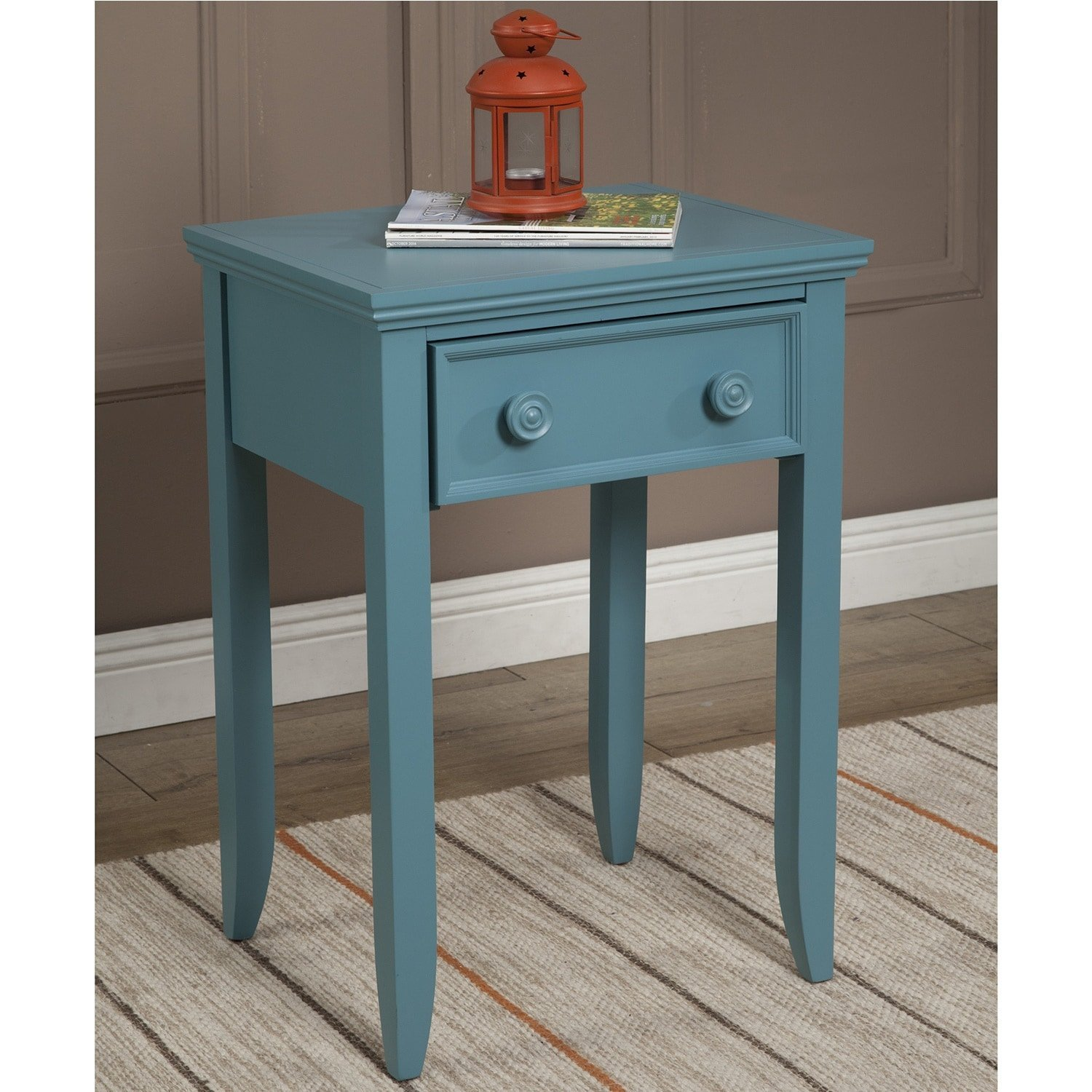 JOHN BOYD DESIGNS Notting Hill Night Stand 4 Legs 1 Drawer Teal, Green Green Finish, Painted