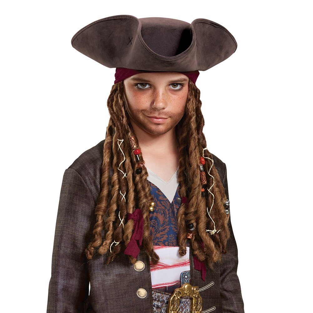 Pirates of the Caribbean 5: Captain Jack Hat Bandana & Dreads - Child