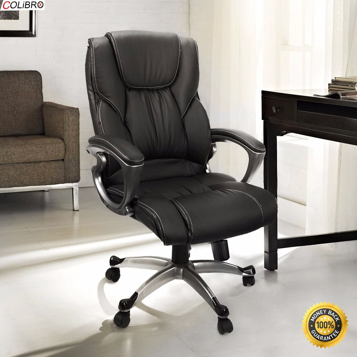 COLIBROX--Black PU Leather High Back Office Chair Executive Task Ergonomic Computer Desk. Deluxe High-back black PU leather ergonomic executive and managerial office chair.