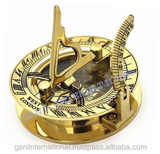 Antiker Messing Kompass Sonnenuhr West London Magnetisch Kompass Mit Holzkiste