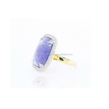 Wholesale 14K Yellow Gold Tanzanite Gemstone Indian Wedding Wear Ring Pave Diamond Jewelry