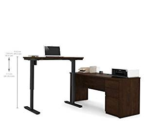 """Bestar Sit Stand Desk Overall Dimensions : 71.1""""W X 70.9""""D X 30.4""""H Credenza : 71.1""""W X 22.4""""D X 30.4""""H Height Adjustable Table : 47.6""""W X 24""""D X 28""""-45""""H - Chocolate"""