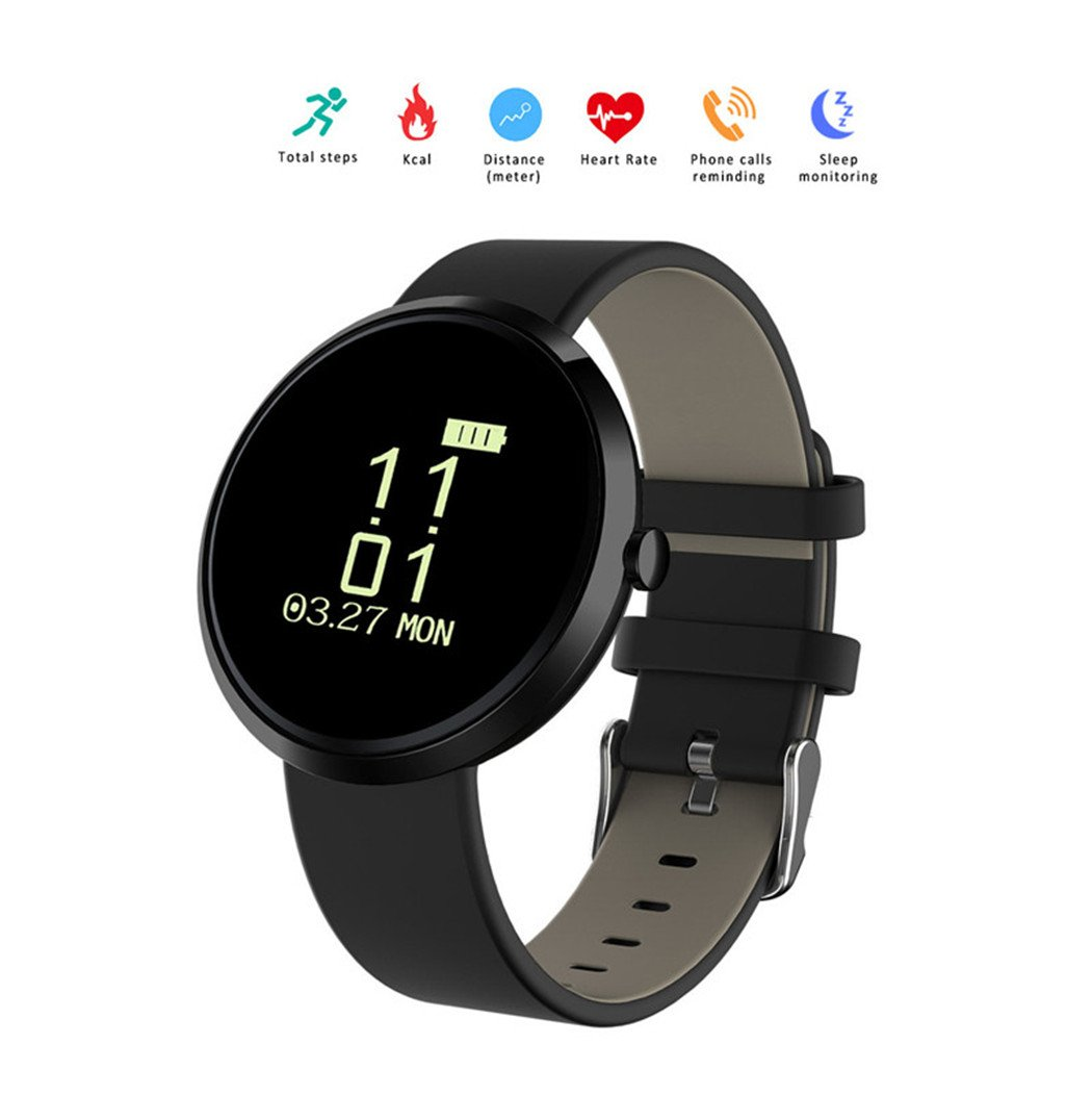 Intelligent heart rate bracelet, 2017 Monitor heart rate measurement blood pressure smart bracelet anti-lost sleep alarm monitor watch bracelet Bluetooth smart watch IOS / Android (Black)