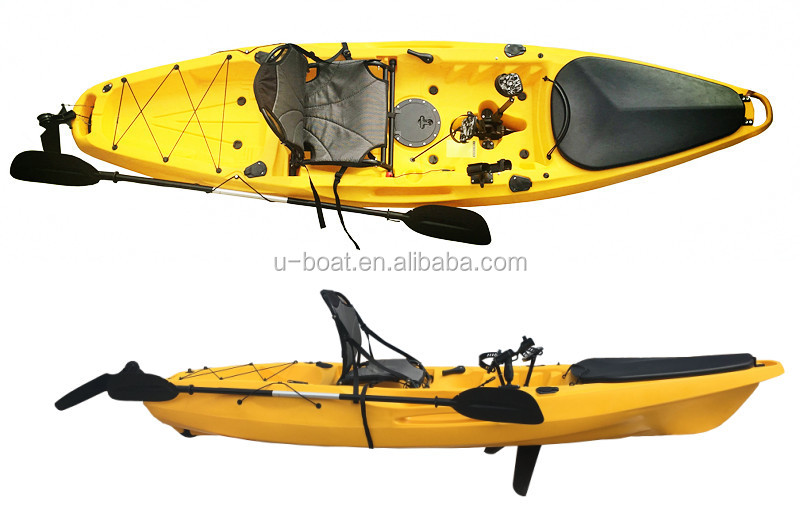 Luxuy u boat new sit on top foot pedal drive kayak fishing for Fishing kayak with foot pedals