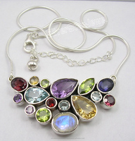 Multi color gemstone handmade 925 sterling silver elegant exclusive wholesale fashion jewelery necklace