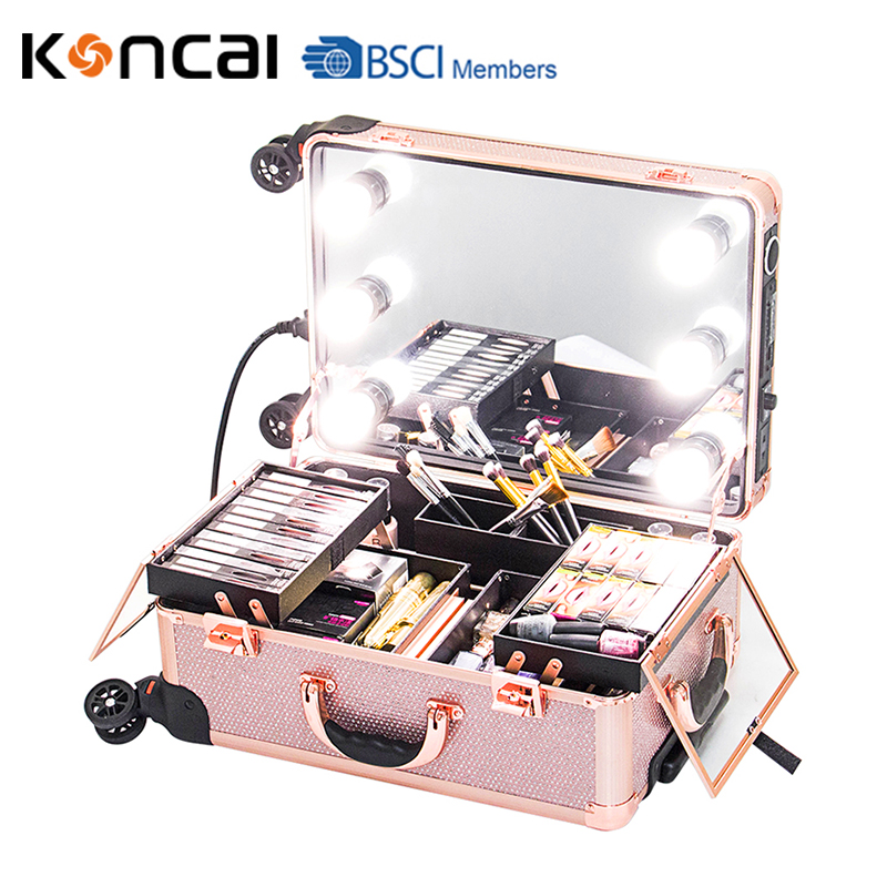 Rose Gold Shinning Diamond Makeup Case With lights Makeup Trolley Beauty Case