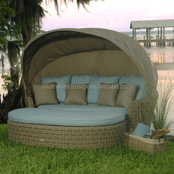 Garden Furniture Day Bed outdoor sofa furniture round retactable canopy garden furniture