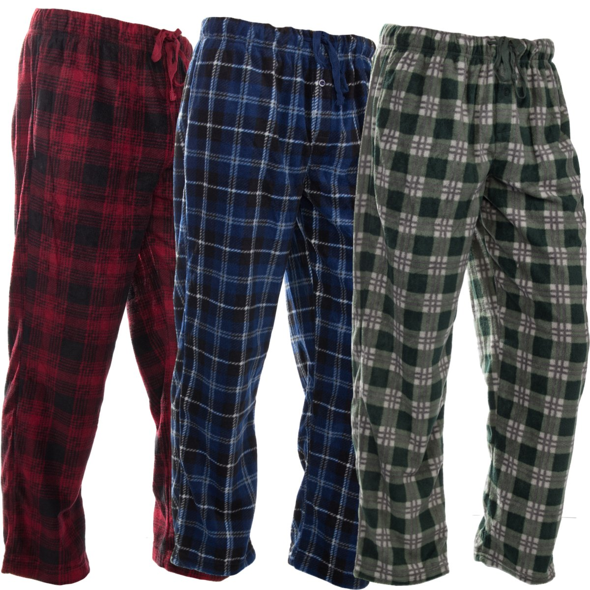 8b65e5a5eb Get Quotations · DG Hill 3 Pairs Mens PJ Pajama Pants Bottoms Fleece Lounge  Sleepwear Plaid PJS with Pockets