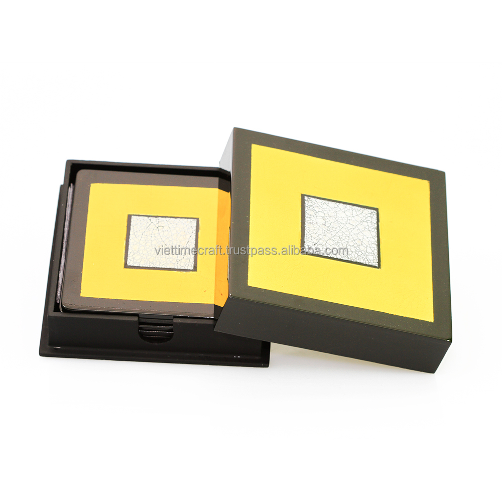 Set of 6 coasters with box, shiny lacquer outside, waterproof and yellow color