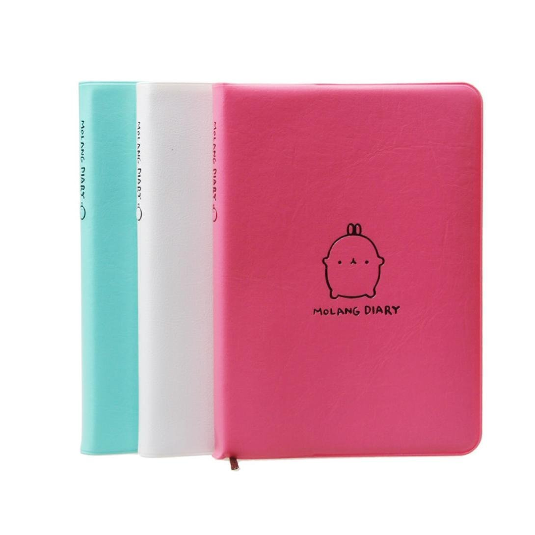 06c244ab6ce1d1 Get Quotations · Lary intel 2017 New Molang Rabbit Diary Weekly Planner  Agenda Notepad Notebook Creative Leather Anime Notebook