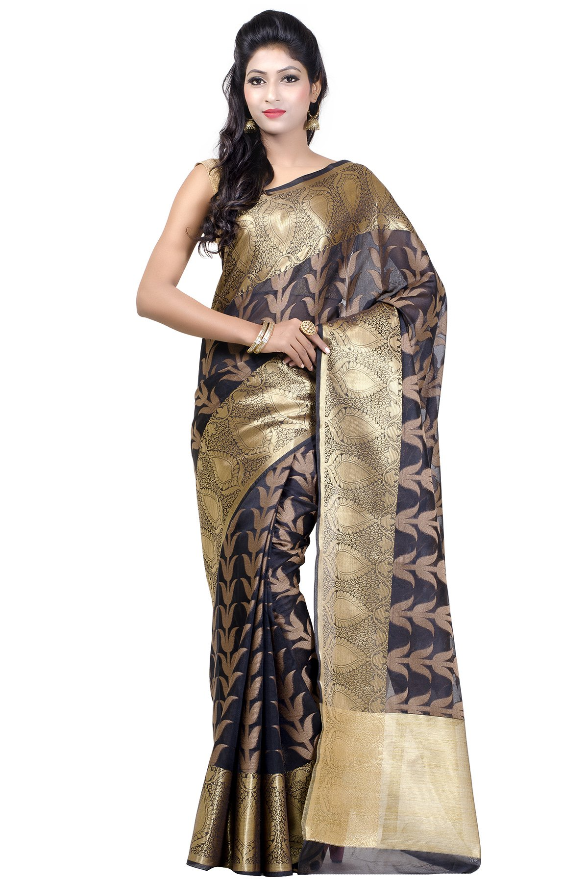 Chandrakala Women's Banarasi Cotton Silk Saree with Unstitched Blouse Piece