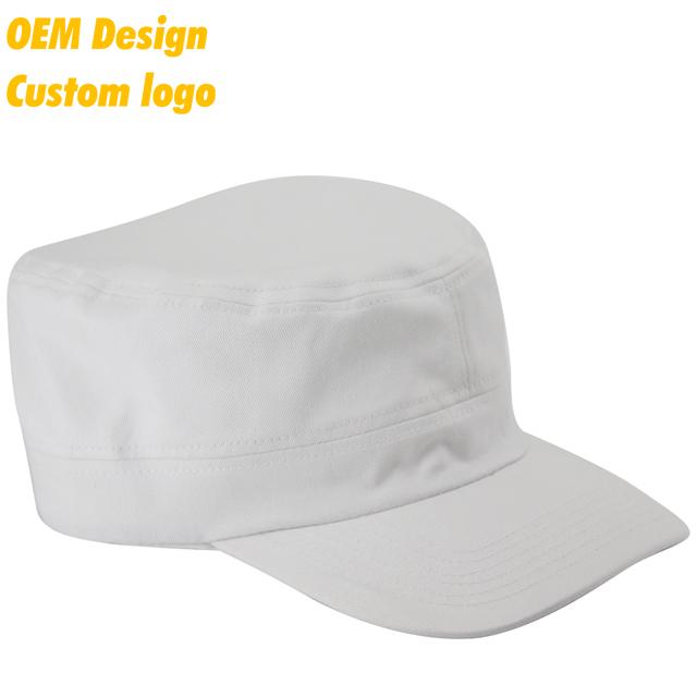 da08c2fa9bf Custom Logo Natural 100% Cotton Plastic Closure Pre-curved sports 3d  embroidery White Army Hat Hip Hop Cap