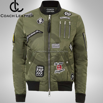 Olive Green Slim Fit Bomber Jacket With Custom Patches Branded