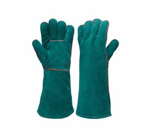 Cow Split Leather Green Welding Safety Work Gloves