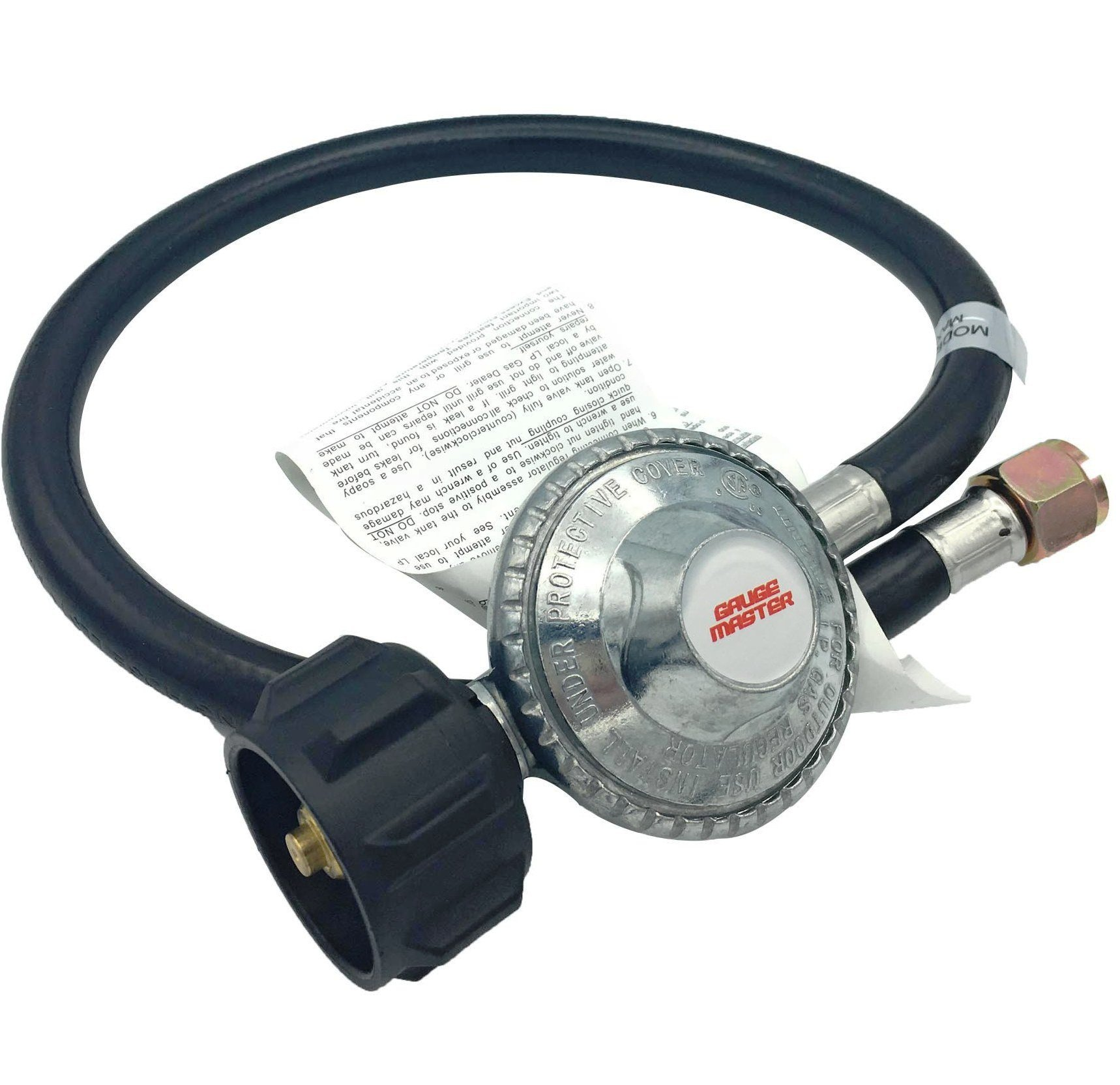 """Gauge Master Premium 2 Foot Universal QCC1 Low Pressure LP Propane Regulator - BBQ Grill Replacement hose fits Most LP Gas Grills, Heaters and Fire Pit Table - 3/8"""" Female Flare Nut (2 Feet)"""