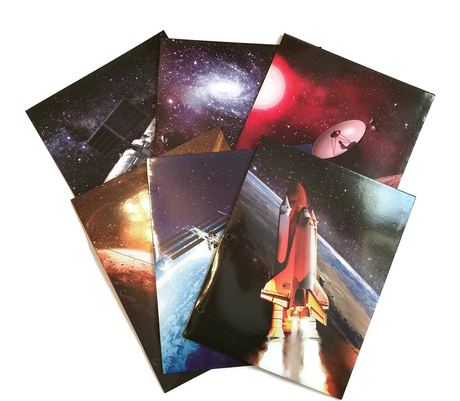 Cool Space Exploration School Supply Bundle: 6 Items: Six Assorted Kittrich Subject Folders