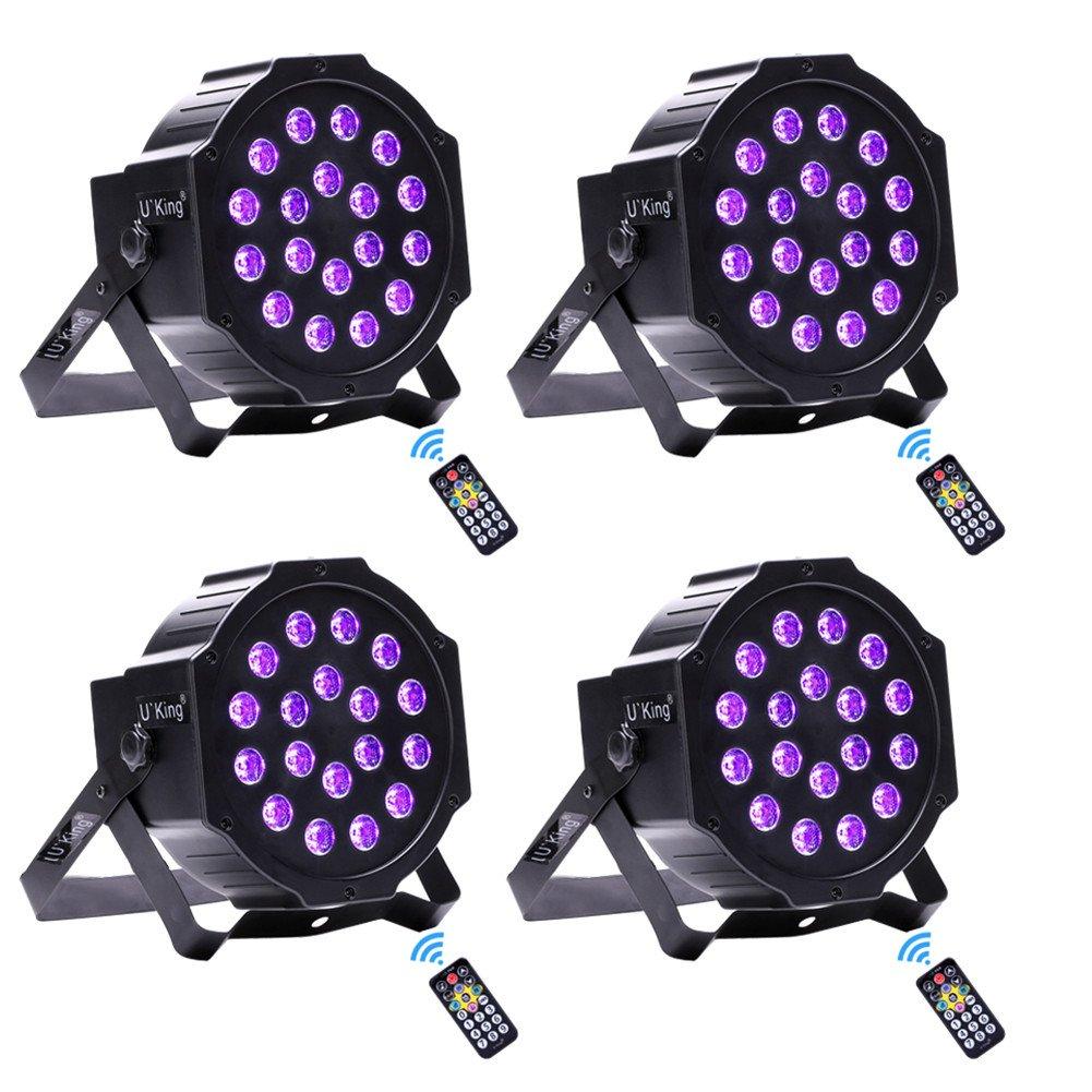 U`King 18 LEDs DJ Par Lights UV LED DMX Controlled Wall Washer Light for Party Pub Club Show Stage Lighting (4pcs)