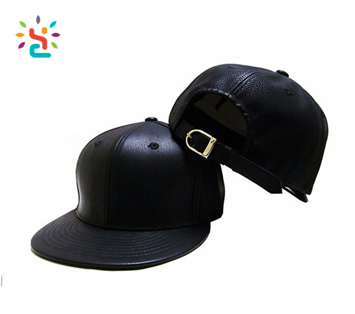 Snapback leather strap buckle hats design your own black leather snapbacks  cap winter baseball hat a89d2b9b8722