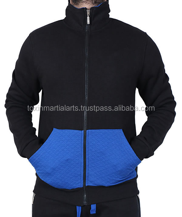 Mens Plain fleece jogging suits with a lined drawstring zipup hood S-XL