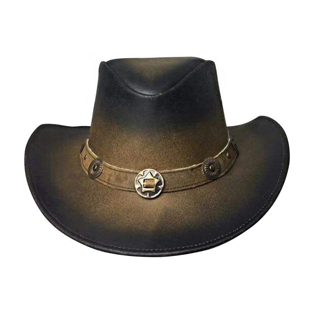 Double Shaded Custom Made Leather Hats - Buy Leather Hats 05557b18c64
